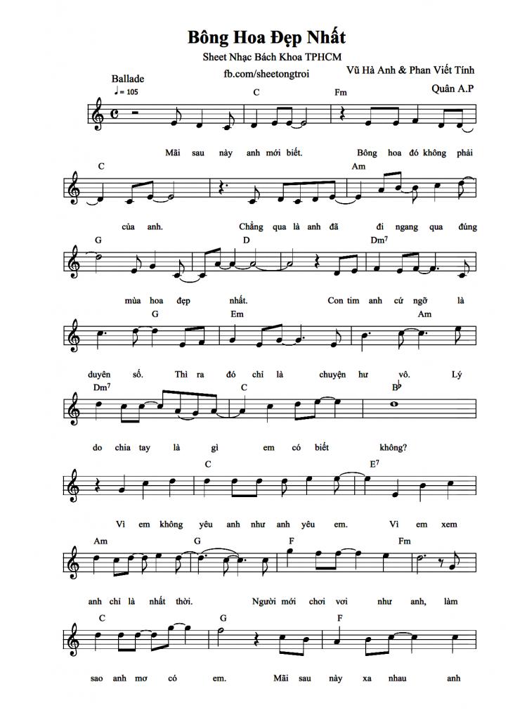 Sheet piano bài Bông hoa đẹp nhất