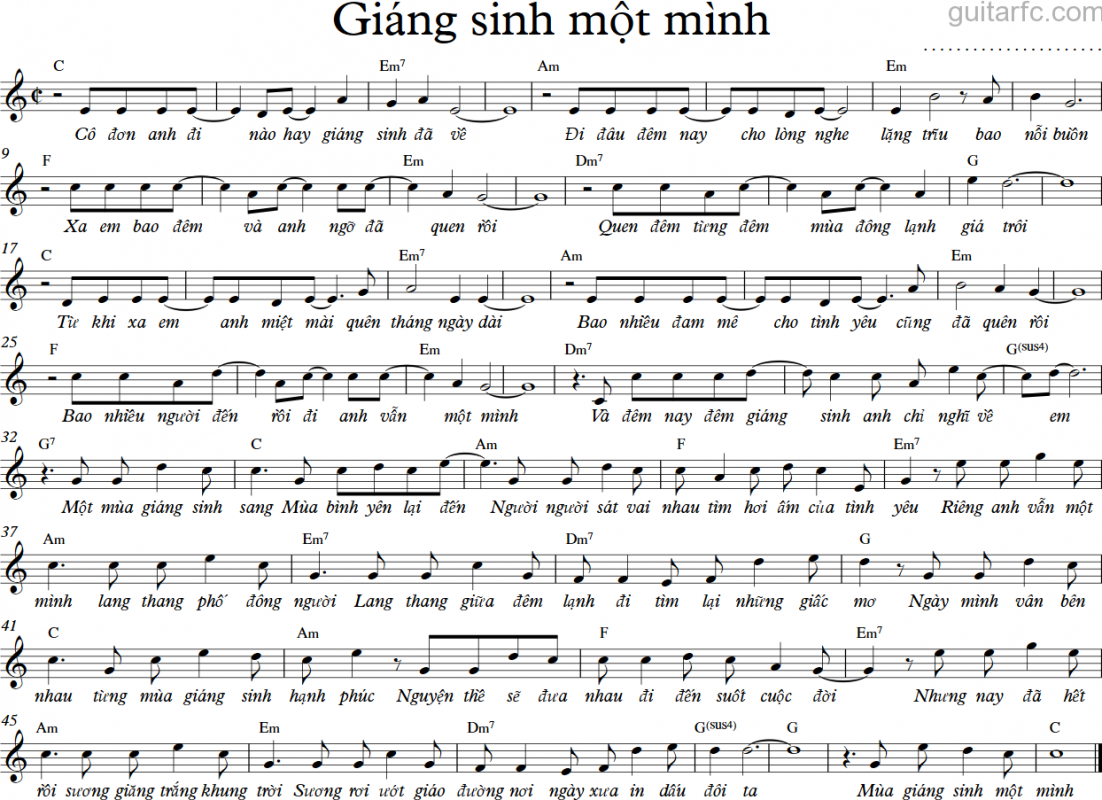 Sheet nhạc bài hát giáng sinh một mình