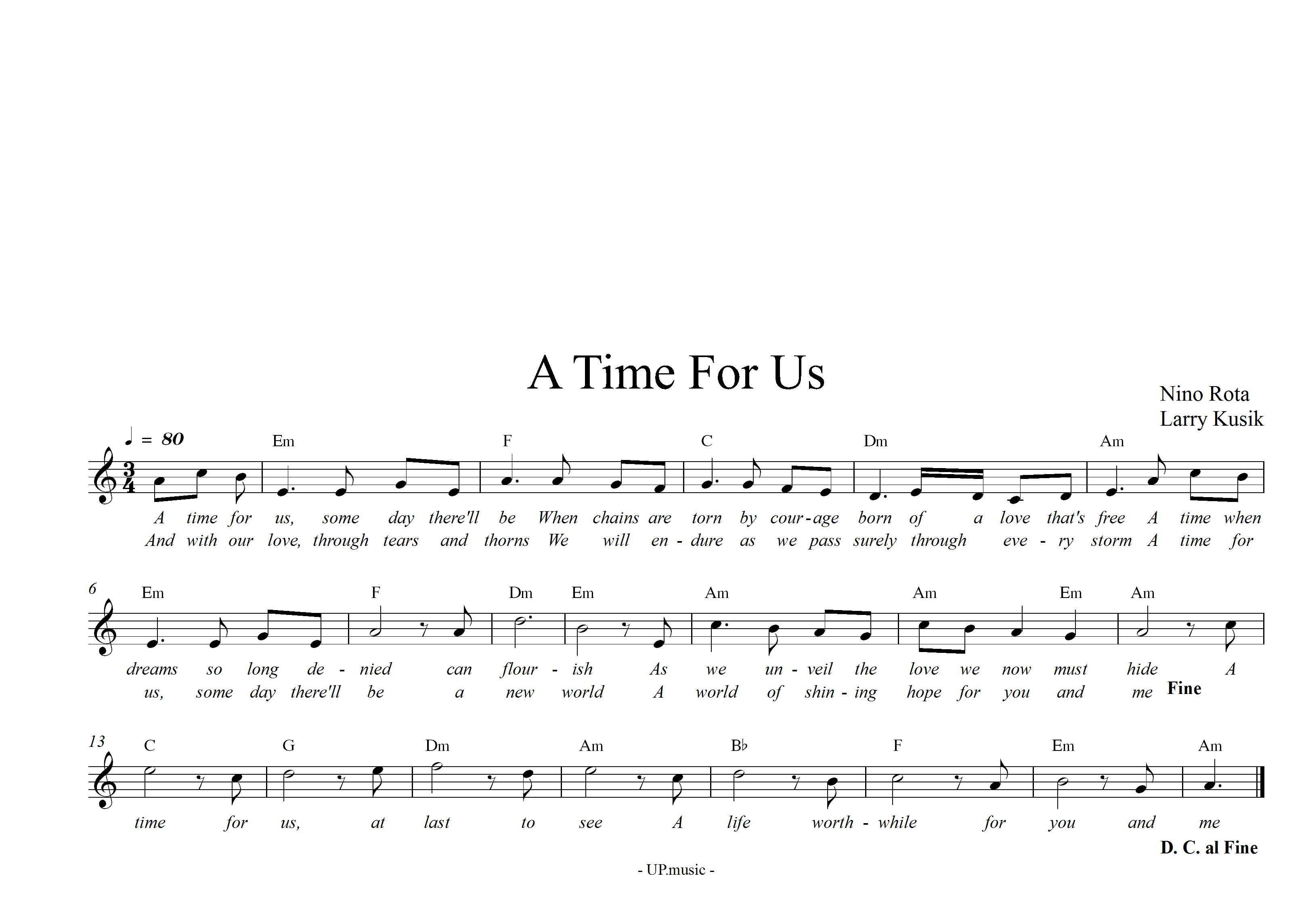 Sheet nhạc bài hát A time for us
