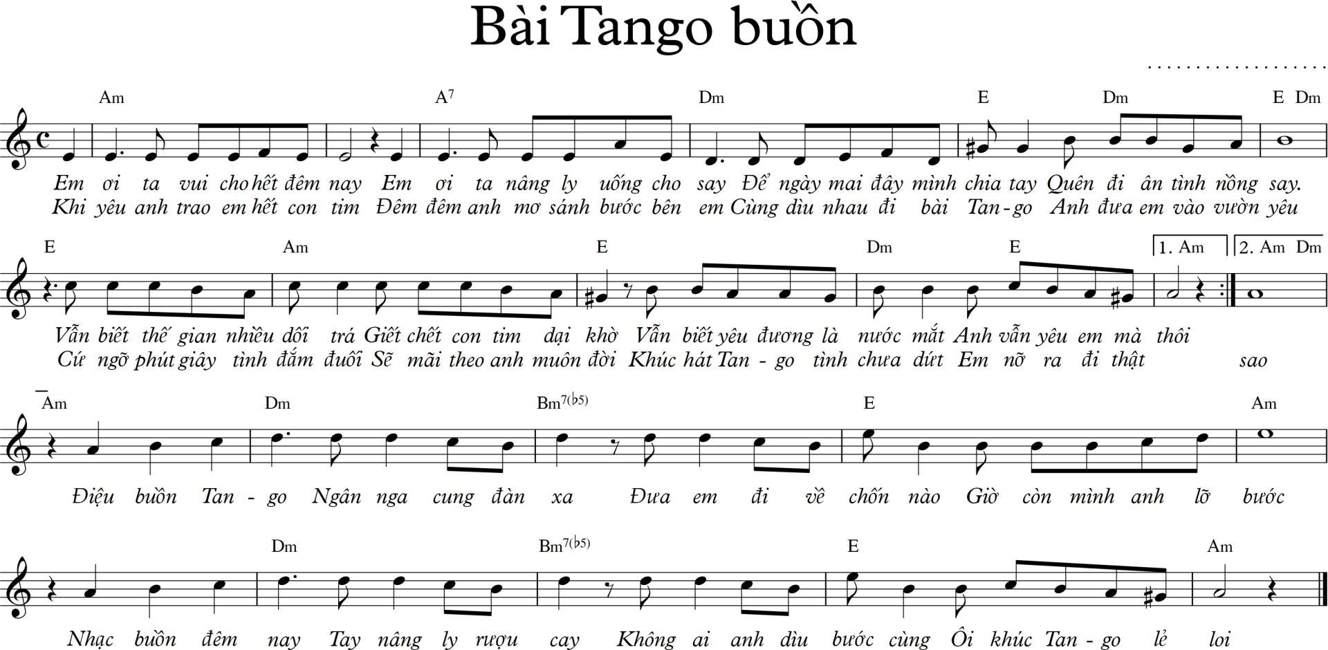 Sheet nhạc bài hát bài Tango buồn