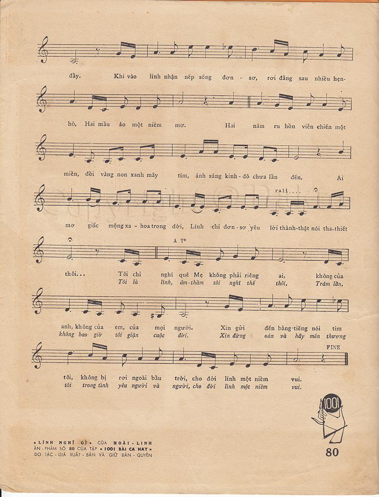 Sheet nhạc bài hát lính nghĩ gì 3