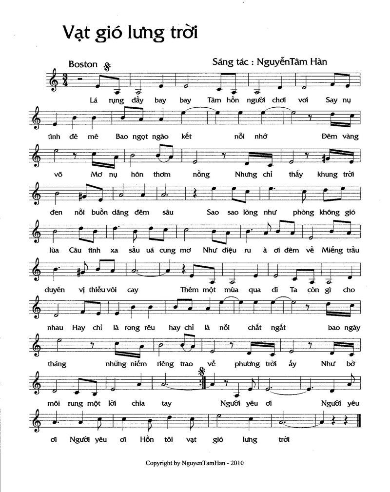 Sheet nhạc bài hát xin ngài vạt gió lưng trời