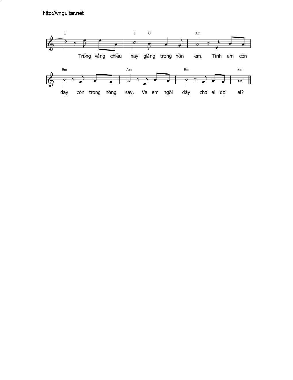 Sheet nhạc bài hát trống vắng 2