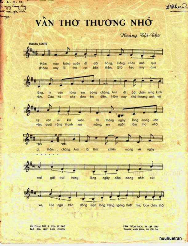 Sheet nhạc bài hát vần thơ thương nhớ 1
