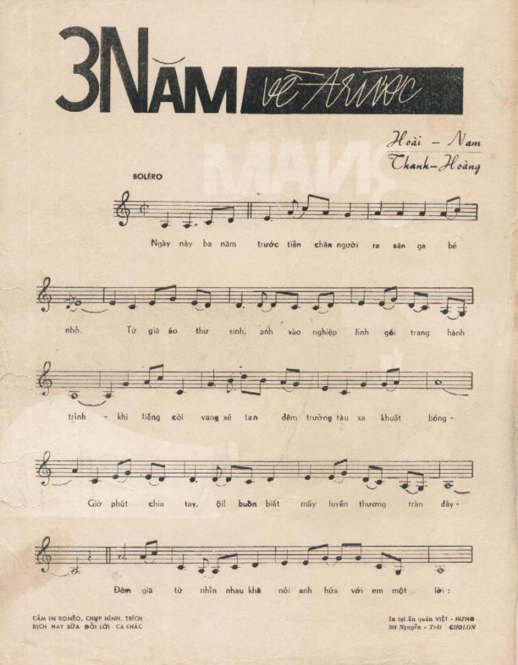 Sheet nhạc bài hát 3 năm về trước 1