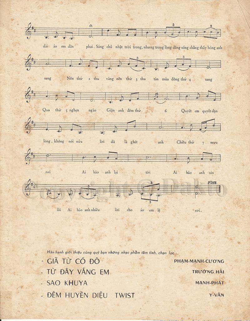 Sheet nhạc bài hát bảy ngày đợi mong 2